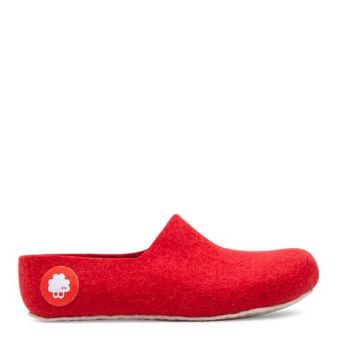 BAABUK Unisex Red Wool Jeremy Slippers