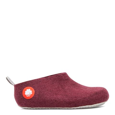 BAABUK Unisex Bordeaux Wool Gus Slippers