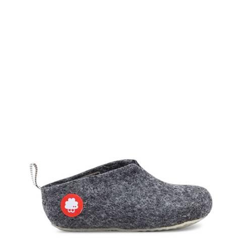 BAABUK Kids Dark Grey Wool Gus Slippers