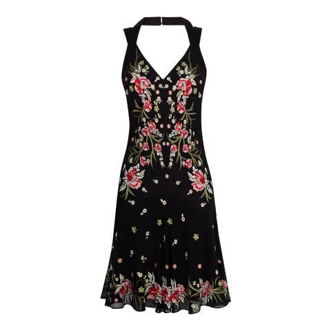 Karen Millen Black/Multi Floral Embroidered Dress