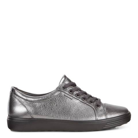 ECCO Pewter Metallic Leather Soft 7 Sneakers