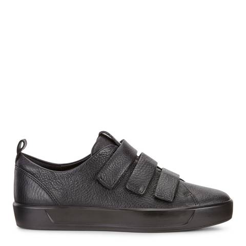 ECCO Black Leather Soft 8 Velcro Sneakers