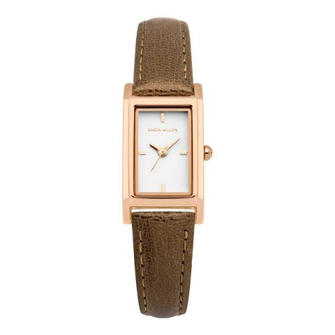 Karen Millen Pearlised Brown Leather Rectangular Watch
