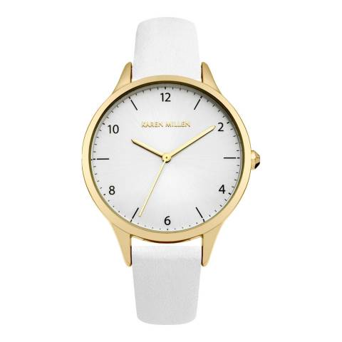 Karen Millen White Stainless Steel Leather Strap Watch