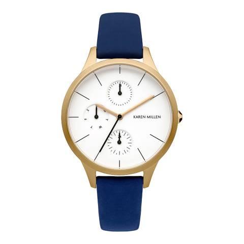 Karen Millen Blue Leather Round Watch
