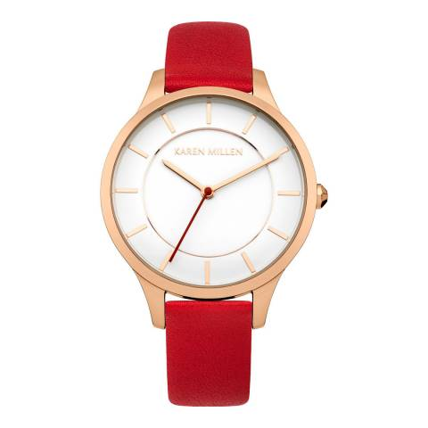 Karen Millen Red Leather Strap White Dial Watch