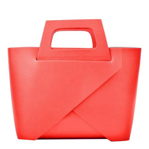 Carla Ferreri Red Leather Boxy Tote Bag