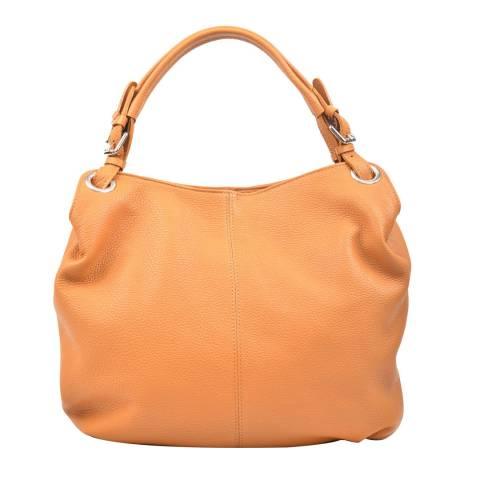 Carla Ferreri Cognac Jeans Leather Tote Bag