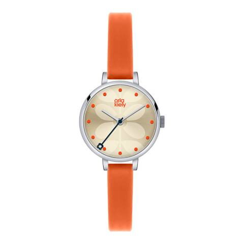 Orla Kiely Silver Ivy Stainless Steel/Leather Analogue Watch