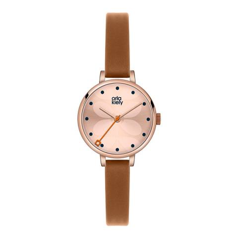 Orla Kiely Rose Gold Ivy Stainless Steel/Leather Analogue Watch