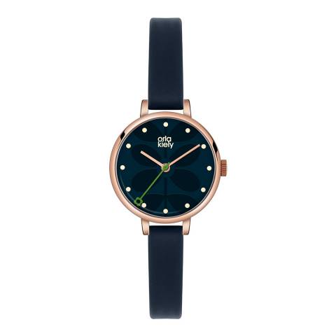 Orla Kiely Navy Ivy Stainless Steel And Leather Analogue Watch