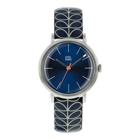 Orla Kiely Silver Patricia Stainless Steel/Leather Analogue Watch