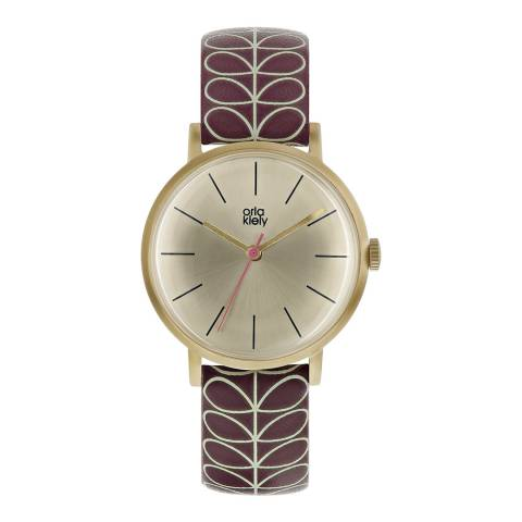 Orla Kiely Gold Patricia Stainless Steel/Leather Analogue Watch