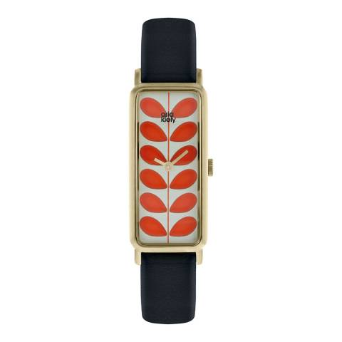 Orla Kiely Gold Stem Stainless Steel/Leather Analogue Watch
