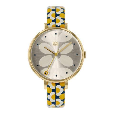 Orla Kiely Gold Ivy Stainless Steel/Leather Analogue Watch