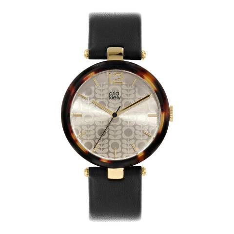 Orla Kiely Gold Maxime Stainless Steel/Leather Analogue Watch