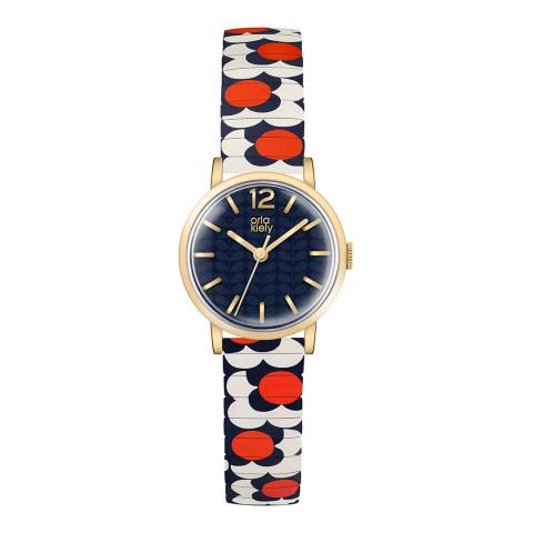 Orla Kiely Navy Flower Pop Stainless Steel Analogue Watch