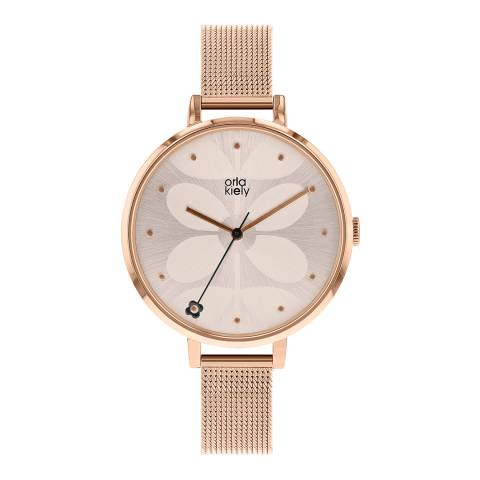 Orla Kiely Rose Gold Ivy Mesh Stainless Steel Analogue Watch