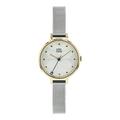 Orla Kiely Silver Ivy Mesh Stainless Steel Analogue Watch