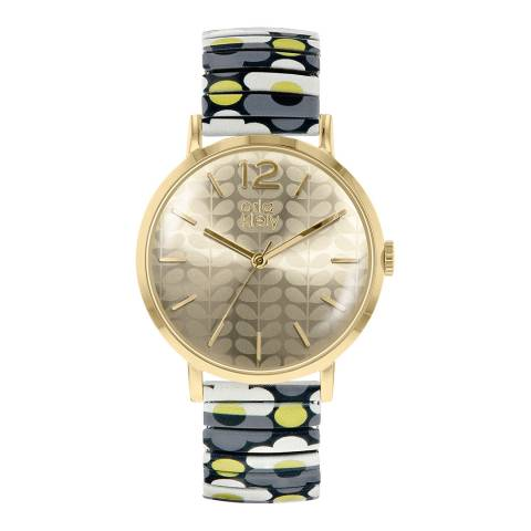 Orla Kiely Gold Pop Stainless Steel Analogue Watch