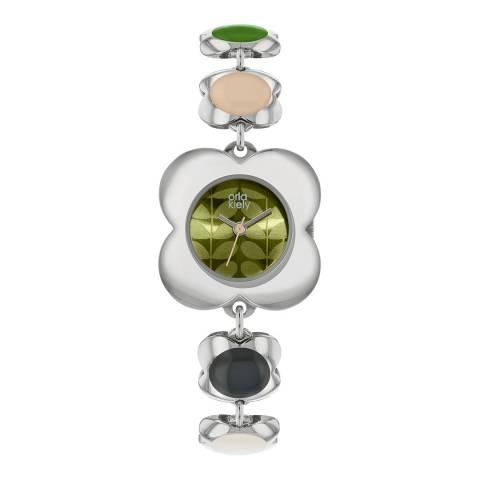 Orla Kiely Silver Poppy Stainless Steel Analogue Watch