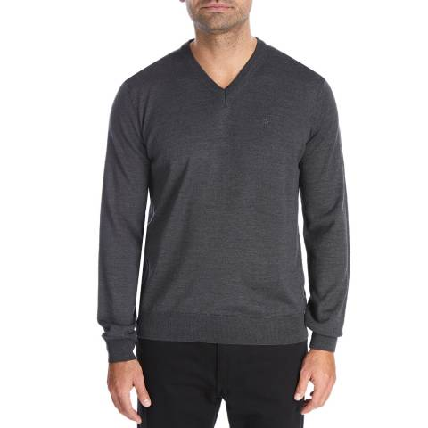 Bagutta Dark Grey V Neck Wool Blend Jumper