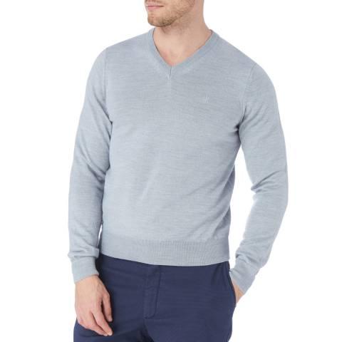 Bagutta Grey V Neck Wool Blend Jumper