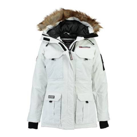 Geographical Norway Women's White Aristochat Parka