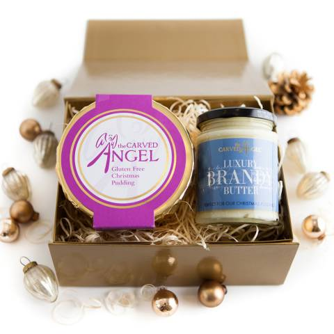 The Carved Angel Gluten Free Christmas Pudding & Brandy Butter Gift Boxed, Serves 3-4