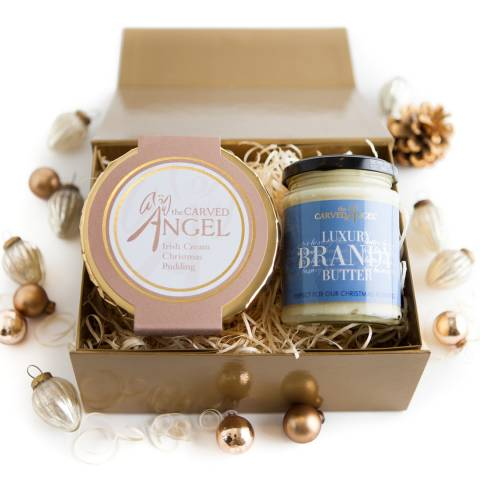 The Carved Angel Irish Cream Christmas Pudding & Brandy Butter Gift Boxed, Serves 3-4