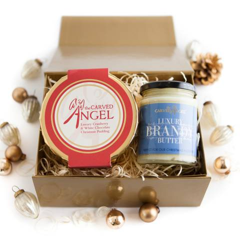 The Carved Angel Luxury Cranberry & White Chocolate Christmas Pudding & Brandy Butter Gift Boxed, Serves 3-4