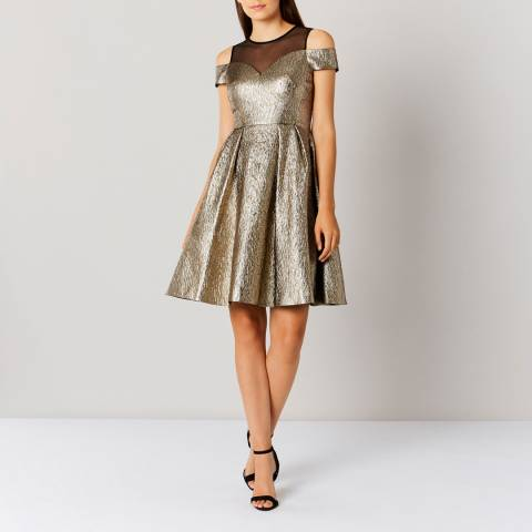 Coast Gold Jiana Metallic Bardot Dress