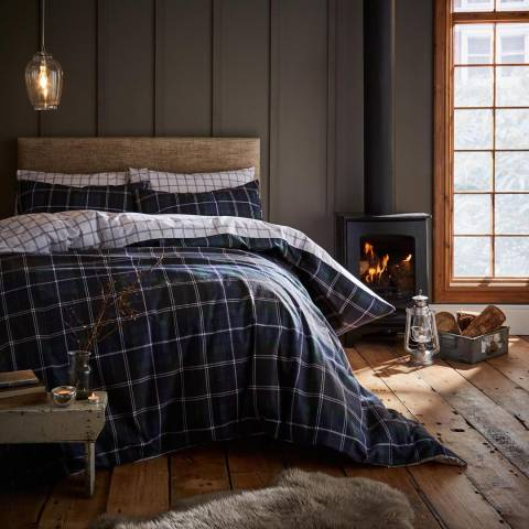 Catherine Lansfield Brushed Tartan Check Single Duvet Cover Set, Navy