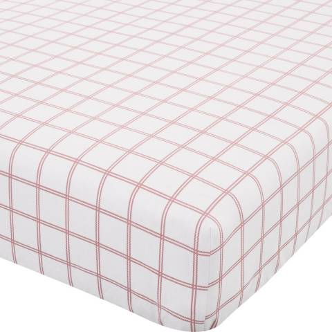 Catherine Lansfield Brushed Tartan Check Single Fitted Sheet, White/Red