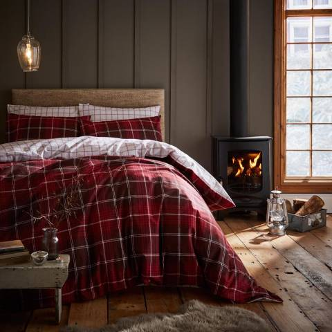 Catherine Lansfield Brushed Tartan Check Double Fitted Sheet, Red