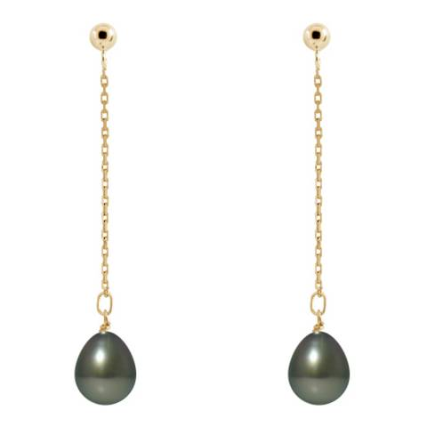 Ateliers Saint Germain Yellow Gold Cultured Tahiti Pearl Hanging Earrings 8-9mm