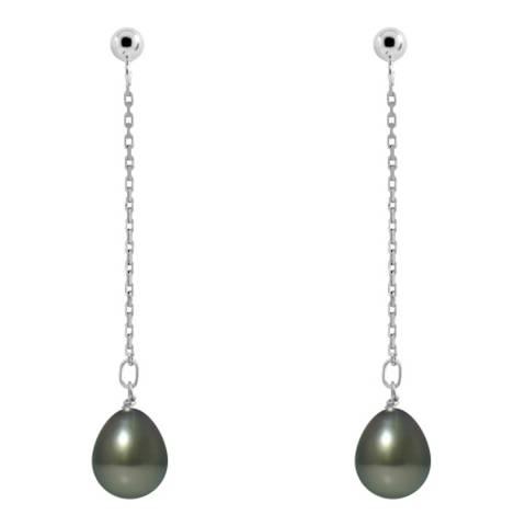 Ateliers Saint Germain White Gold Cultured Tahiti Freshwater Pearl Earrings 8-9mm