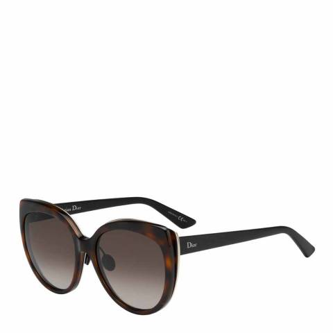 Dior Ladies Brown Havana Dior Sunglasses 57mm