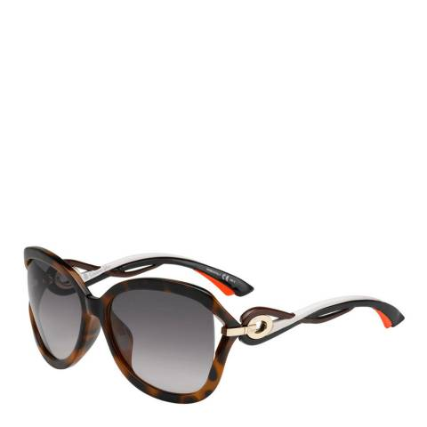 Dior Ladies Brown with Red, Black and White Twisting Dior Sunglasses 58m