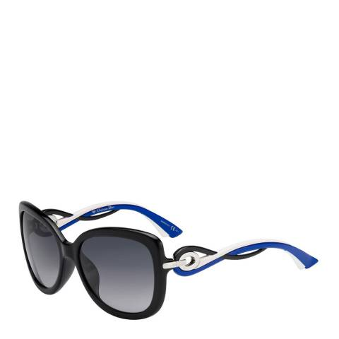 Dior Ladies Black with Blue, Black and White Twisting Dior Sunglasses 58mm