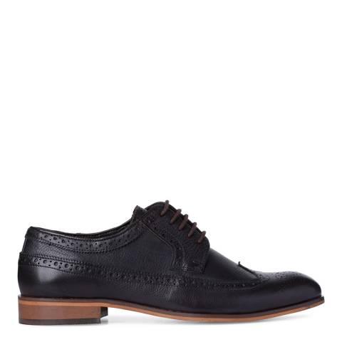 Dune London Dark Brown Leather Pebble Prague Brogue Shoes