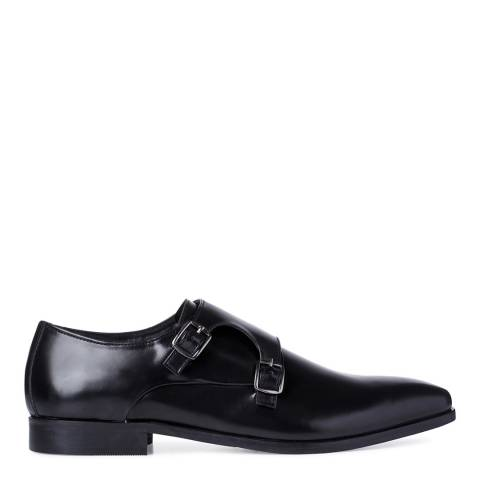 Dune Black Leather Road Island Buckle Monk Shoes