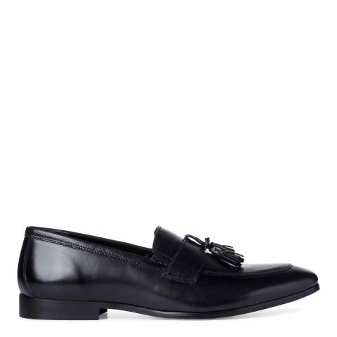 Dune London Black Leather Bruce Classic Tassel Loafers