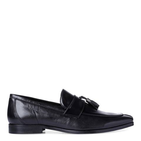 Dune Navy Leather Princetown Hi-Shine Tassel Loafers