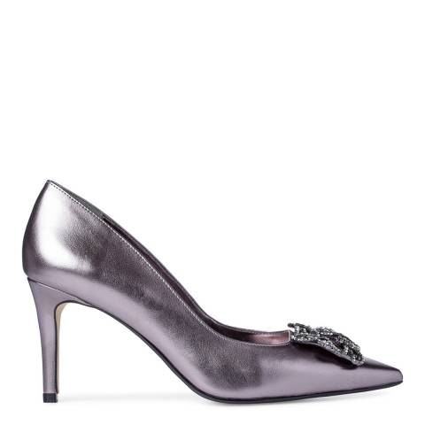 Dune Pewter Patent Betti Jewelled Brooch Stiletto Heels