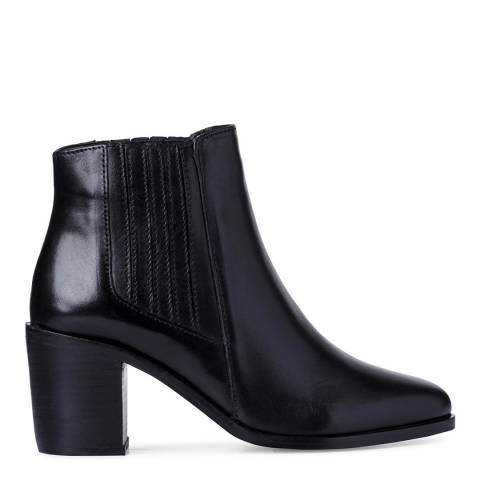 Dune Black Leather Peter Block Heel Chelsea Boots