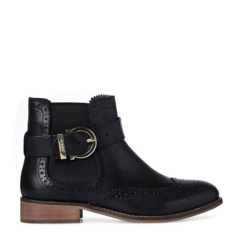 Dune London Black Leather Indira Classic Buckle Chelsea Boots