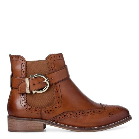 Dune Tan Leather Indira Classic Buckle Chelsea Boots