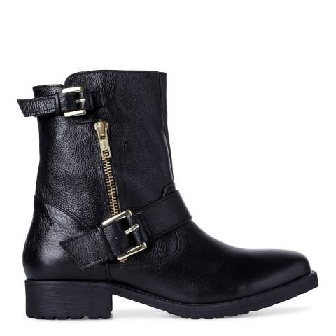 Dune Black Leather Ripp Buckle Ankle Boots