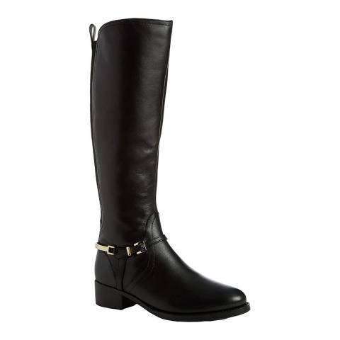 Dune Black Leather Upton Buckle Knee Length Boots